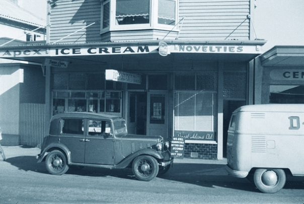 Airds Dairy & Cake Shop Papanui shows Apex Ice cream and Ernest Adams Cakes edit