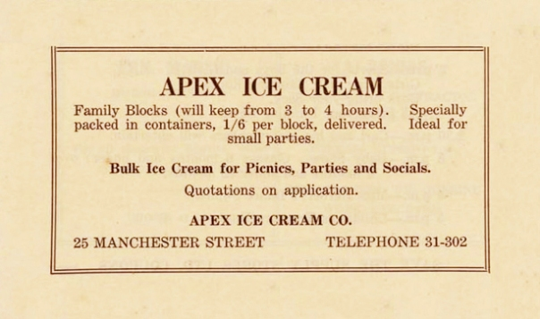 Apex Ice Cream 25 Manchester Street - Opawa Public Library Carnival booklet 1930s edit orange