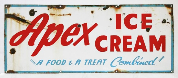 Apex Ice Cream Old Enamel  Sign 91 x 38 cm 1 edit  copy