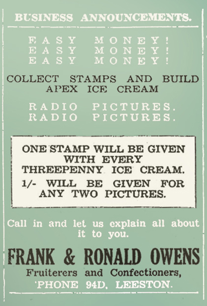 APEX ICE CREAM STAMPS TO COLLECT Ellesmere Guardian, 1 October 1937, Page 1 edit colour copy