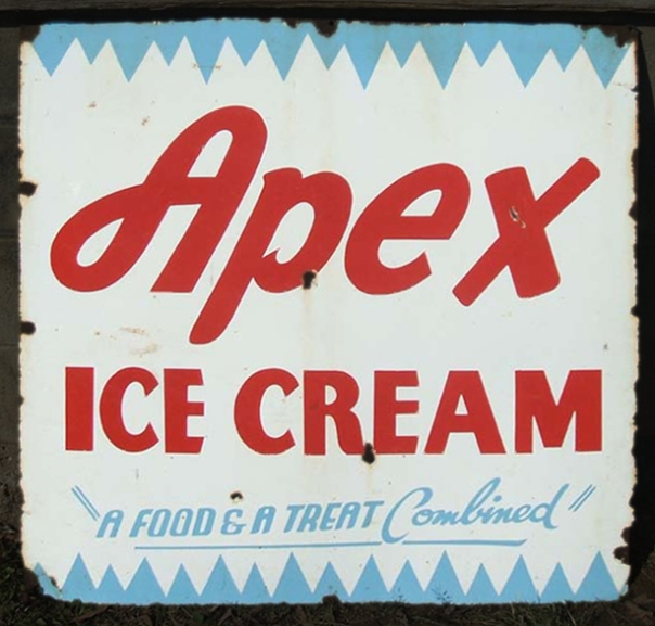 Apex Ice Cream tin sign from Australian site Roadside Relics edit  copy