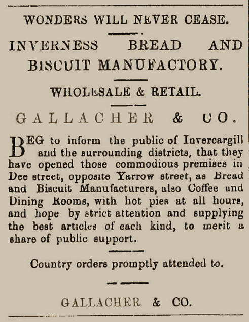 Gallacher & Co's Inverness Bread and Biscuit Manufactory  Southland Times  29 December 1875 Page 3