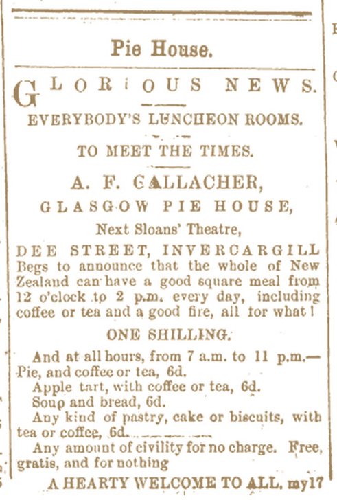 GLASGOW PIE HOUSE Southland Times , Issue 4092, 11 August 1881, Page 1