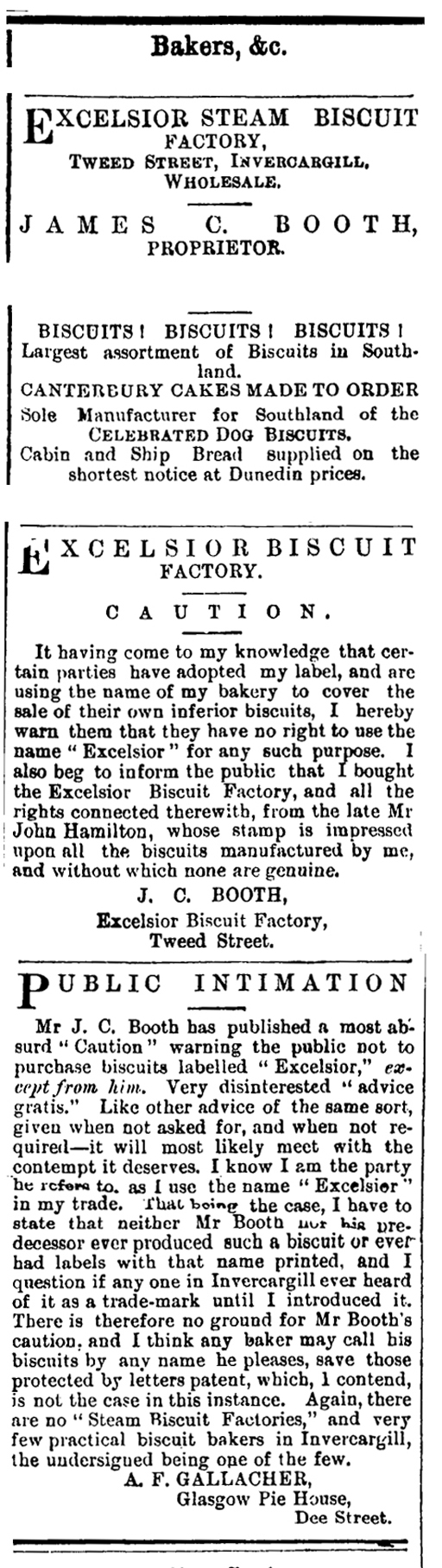 NOTICE OF PUBLIC INTIMATION J C BOOTH vs A F Gallacher  - Southland Times - 8 September 1880 - Page 1 - Page 1 Advertisements Column 4
