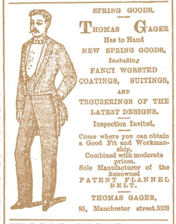THOMAS GAGER TAILOR Star , Issue 5812, 29 December 1886, Page 2 edit
