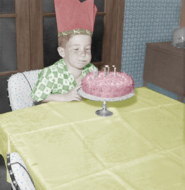 2b Boy blowing out candles on birthday cake 1964 Swainson-Woods Collection edit copy