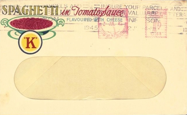 K Kirkpatrick Spaghetti with tomato and cheese 1945 NZ Bill envelope with advertising edit