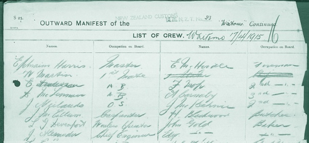 New Zealand Archives  passenger Lists 1839-1973 John and Edgar Gold Bakers 1915 Waitomo edit copy